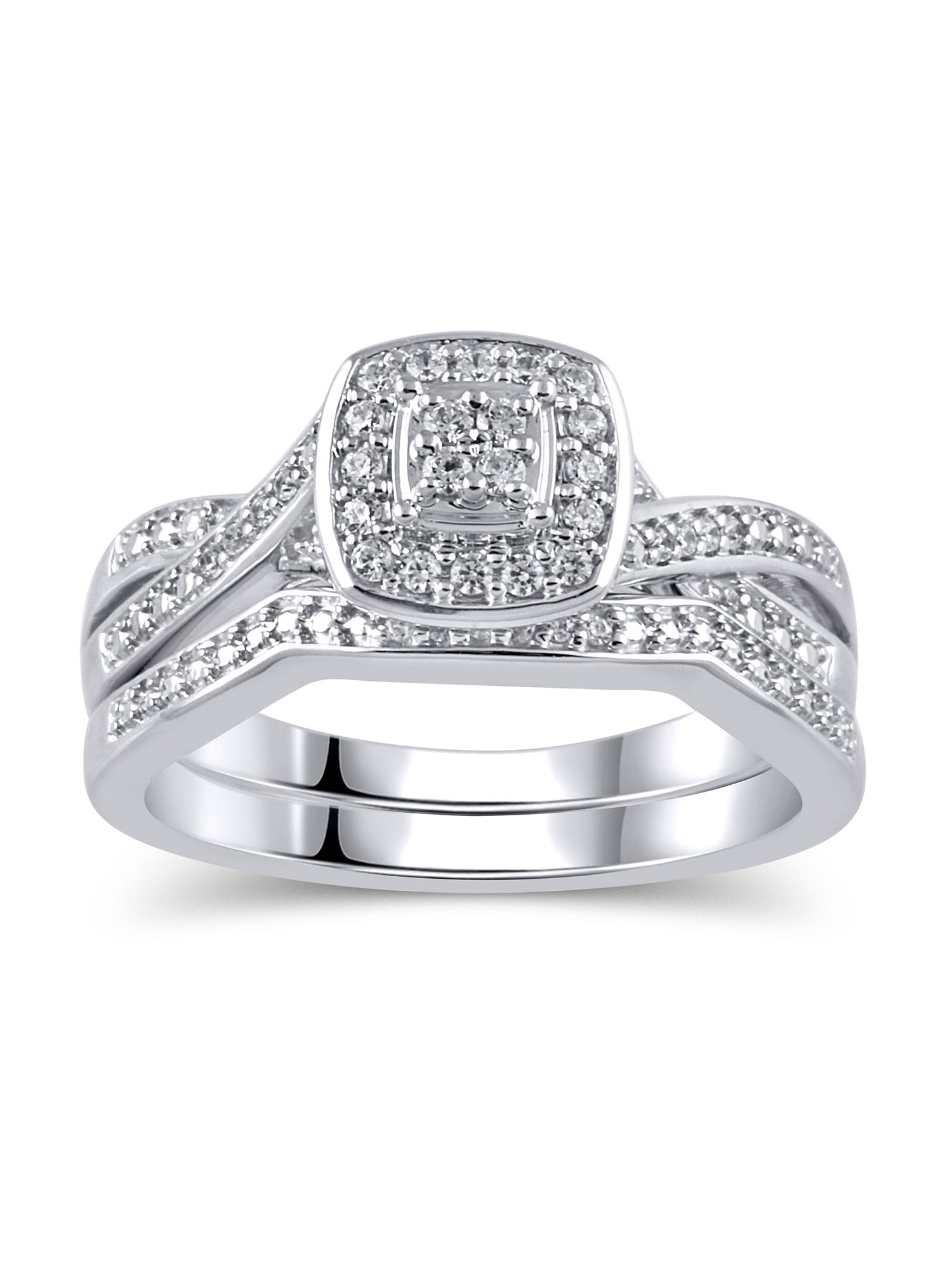 1/5 Carat T.W. Diamond Sterling Silver Rhodium-Plated Bridal Set