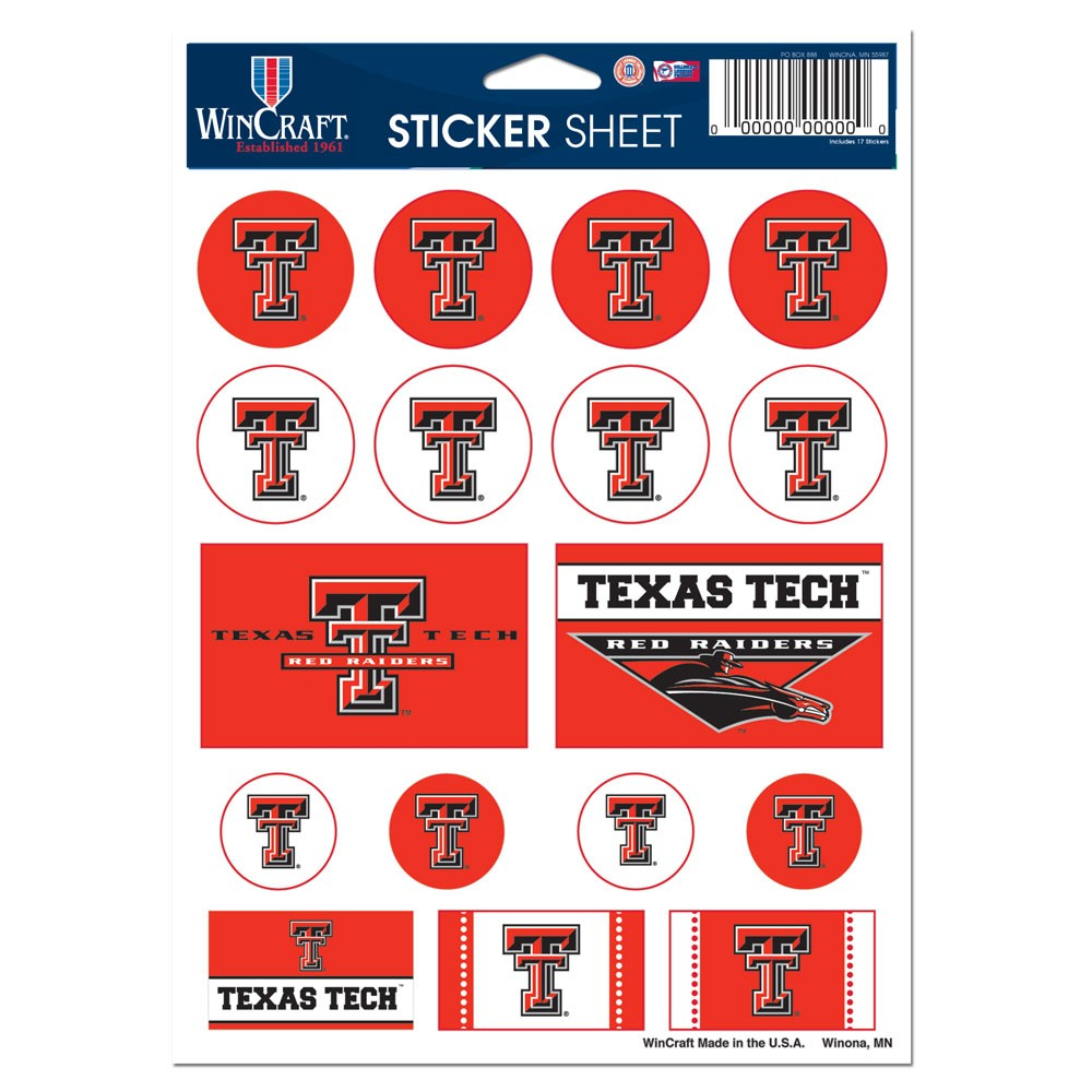 Texas Tech Red Raiders Official NCAA 5 inch x 7 inch  Sticker Sheet by Wincraft