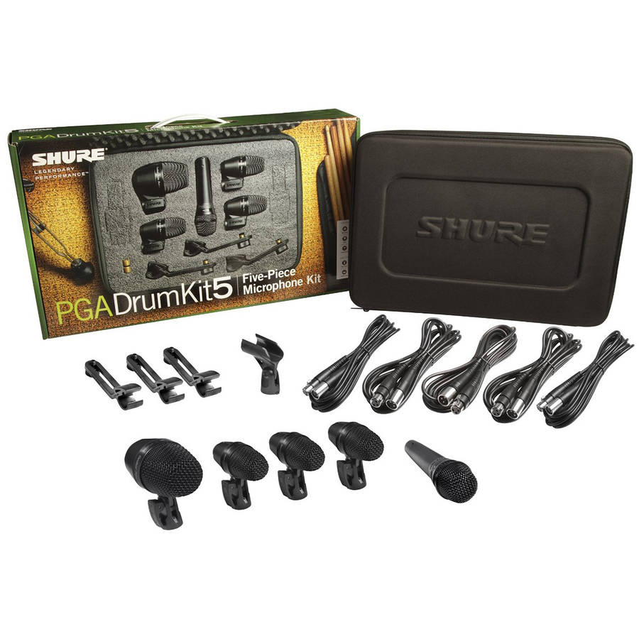 Shure PG Alta Drum Kit 5 Microphone Package Including, 1 PGA52, 1 PGA57, 3 PGA56 by Shure