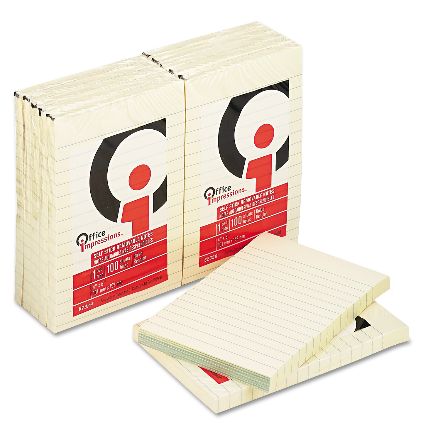 Office Impressions Yellow Self-Stick Notes, 4 x 6, Lined, 100-Sheet, 12/Pack -OFF82329