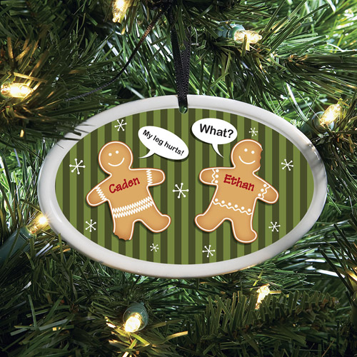 Personalized Gingerbread Cookies Oval Ornament