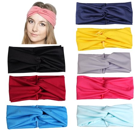 - Polyeste Women Headbands Turban Headwraps Hair Band Cross Twisted Hair  Accessories for Fashion Or Sport (Pure Color 8pcs)