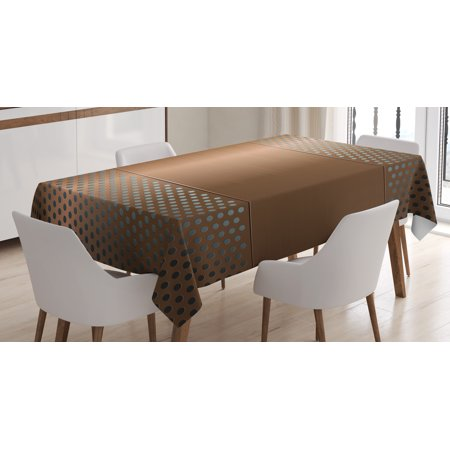 Copper Decor Tablecloth, Perforated Grid Metallic Plate Steel Industrial Futuristic Technology Theme Print, Rectangular Table Cover for Dining Room Kitchen, 52 X 70 Inches, Brown, by Ambesonne