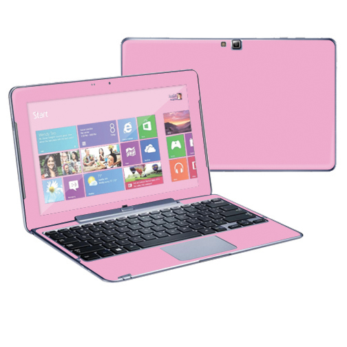 "Mightyskins Protective Skin Decal Cover for Samsung ATIV Smart PC Pro 500T Tablet & Keyboard with 11.6"" screen wrap sticker skins Solid Pink"