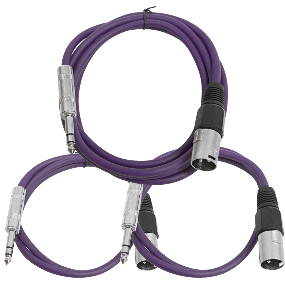 "Seismic Audio 3 Pk of Purple XLR Male to 1/4"" TRS Patch Cables  - One 6 ft One 3 Ft, One 2 ft Purple - SATRXL-M3C-Purple"