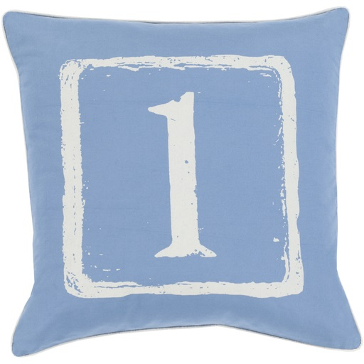 "22"" Cobalt Blue and White ""1"" Big Kid Blocks Decorative Throw Pillow - Down Filler"