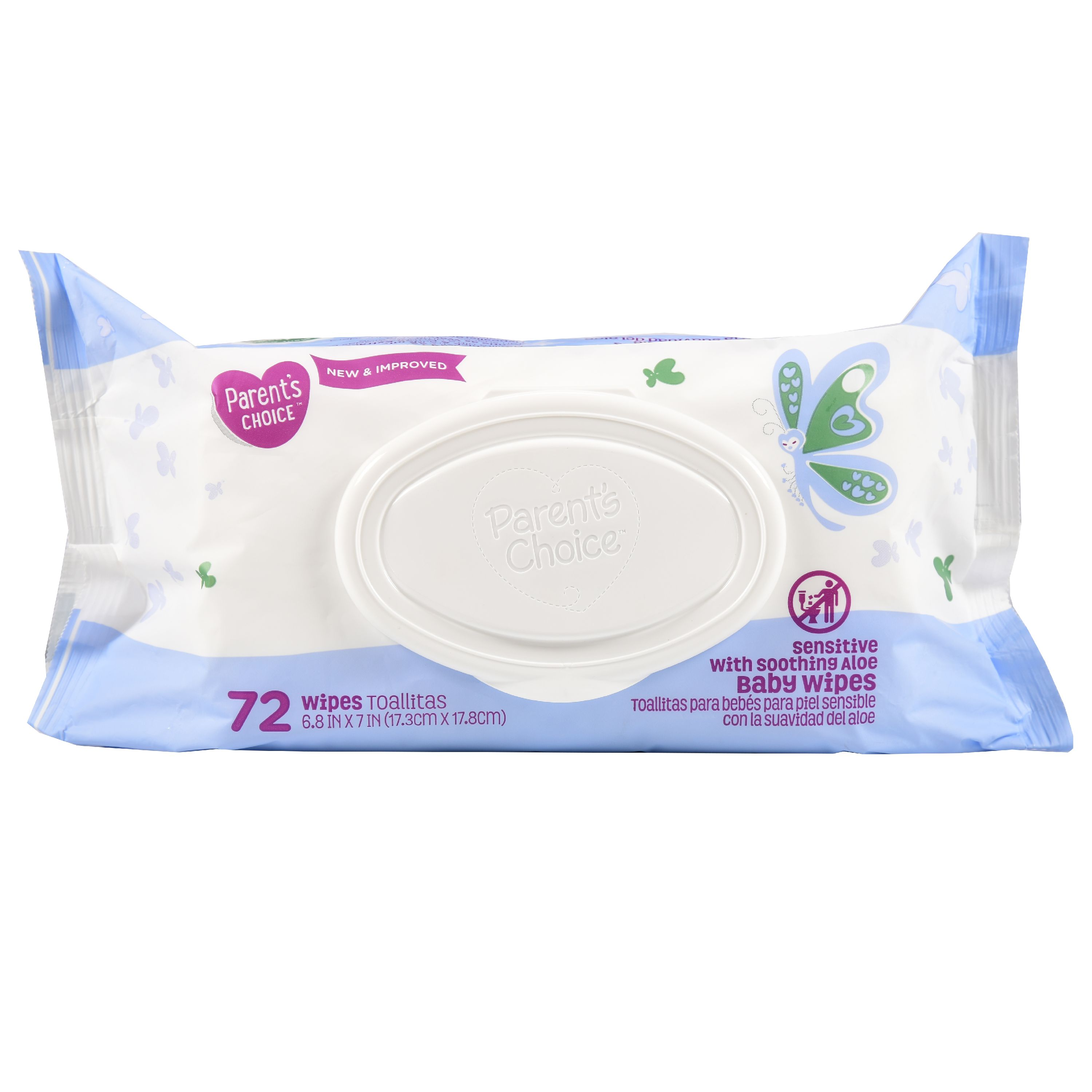 Parent's Choice Sensitive with Soothing Aloe Baby Wipes, 72 count