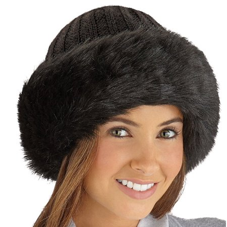 Collections Etc - Faux Fur Trimmed Winter Fashion Hat Black d76ba8e9e163