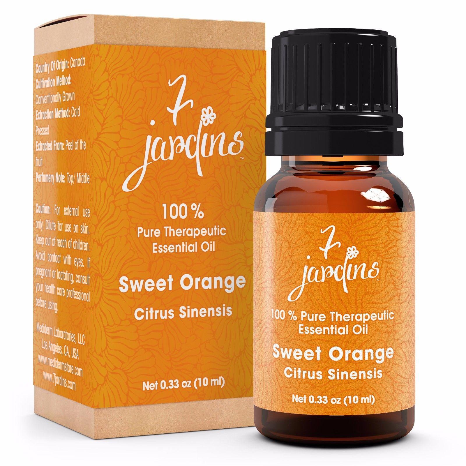 Premium Sweet Orange 100% Natural Therapeutic Essential Oil by 7 Jardins - 10 ml