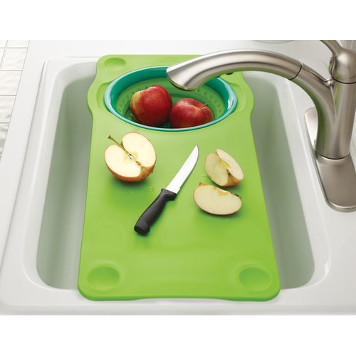 Squish Over The Sink Cutting Board With Collapsible Colander