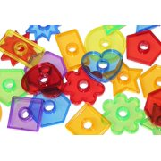 """Set of 24 Transparent Large Shape Beads/Buttons 2"""" - Perfect color and shape sorting manipulative"""