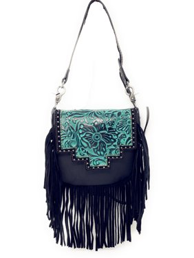 3c980987b2ec Product Image Handcrafted Leather Western Floral Tooled Womens Fringe  Clutch Crossbody Bag