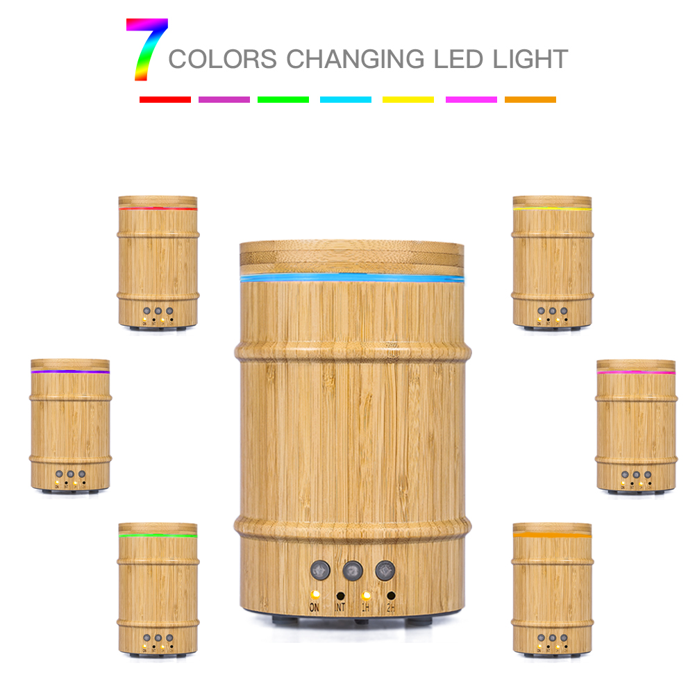 HURRISE Real Bamboo Essential Oil Diffuser,150ml Ultrasonic Aromatherapy Humidifier with 7 Colorful LED