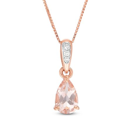 1.10 Carat Pear Cut Genuine Morganite and Three Stone Diamond Drop Pendant Necklace in 18k Rose Gold Over Silver Cut Out Rose Pendant