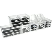 Unique Home Acrylic Makeup Cosmetic Organizer Set 5 Piece to Conceal Lipstick, Eye-Shadow, Brushes with 4 Storage Drawers, Clear, 5 Piece Set
