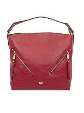 24f702315f5a Product Image Michael Kors Evie Large Pebbled Leather Shoulder Bag- Maroon