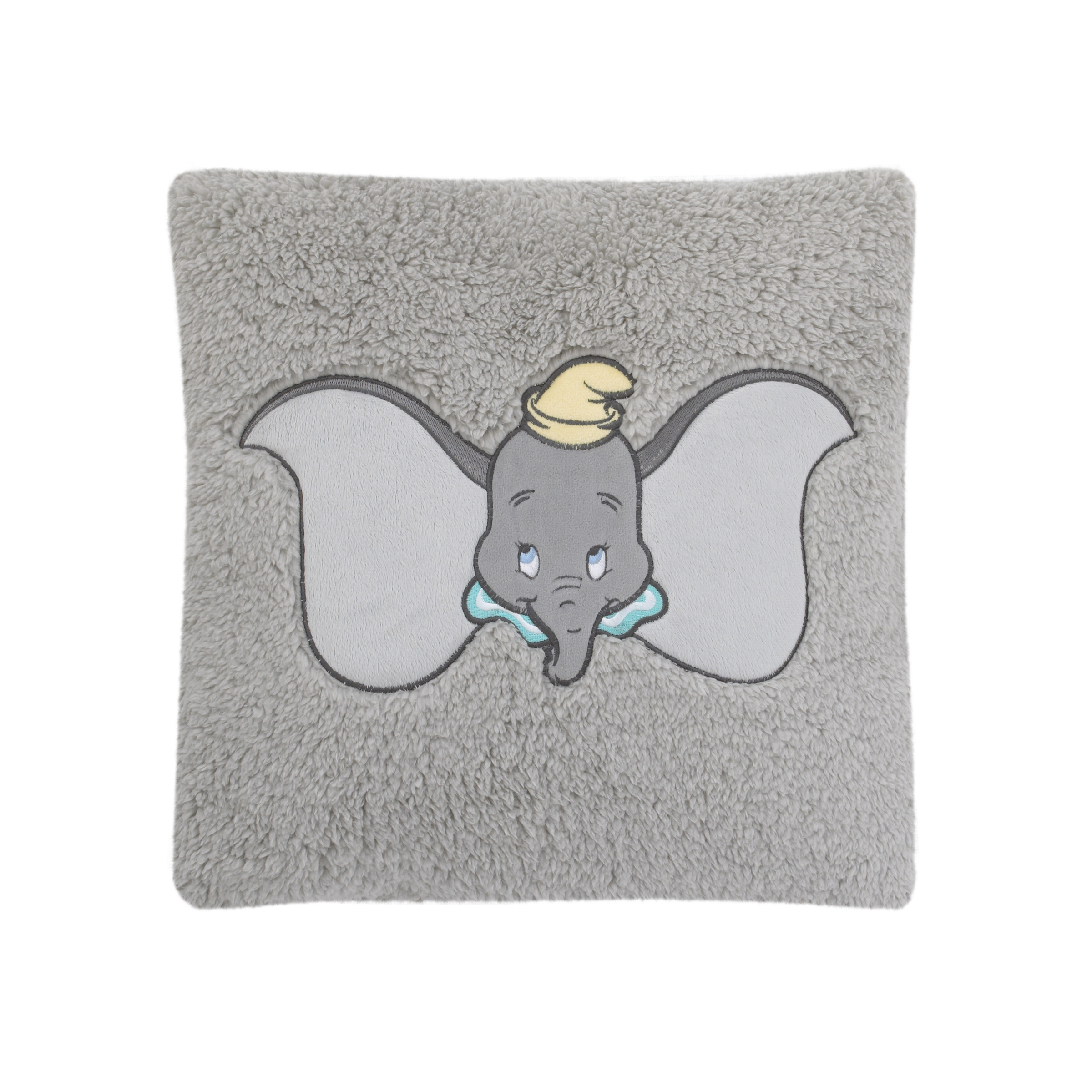 Disney Dumbo Grey, Aqua, and Yellow Plush Appliqued Decorative Sherpa Pillow by Crown Crafts Infant Products, Inc.