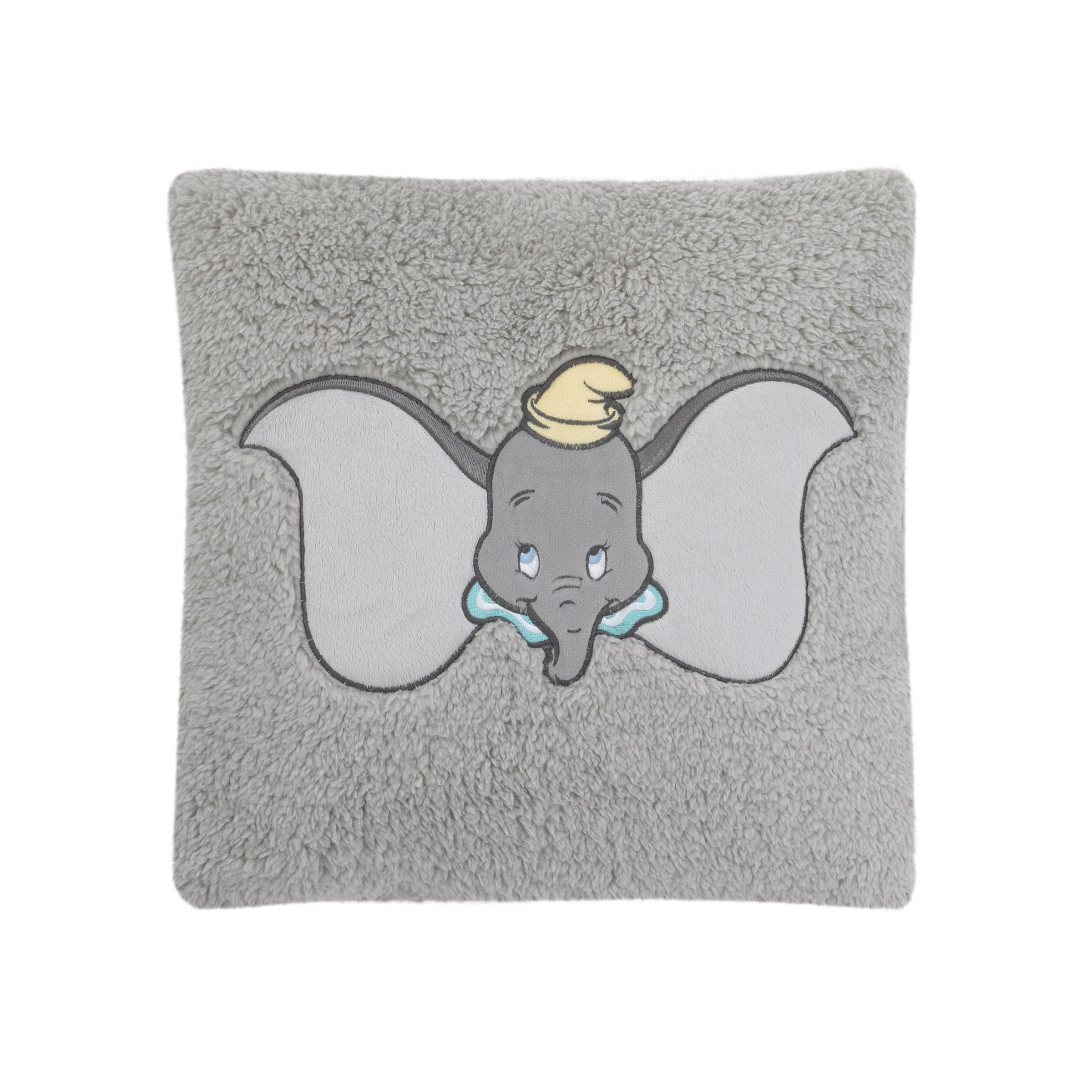Disney Dumbo Grey, Aqua, and Yellow Plush Appliqued Decorative Sherpa Pillow