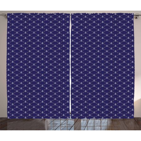 Anchor Curtains 2 Panels Set  Checkered Pattern With Stylized Chain And Marine Icon Ocean Cruise Vacation  Window Drapes For Living Room Bedroom  108W X 90L Inches  Royal Blue White  By Ambesonne