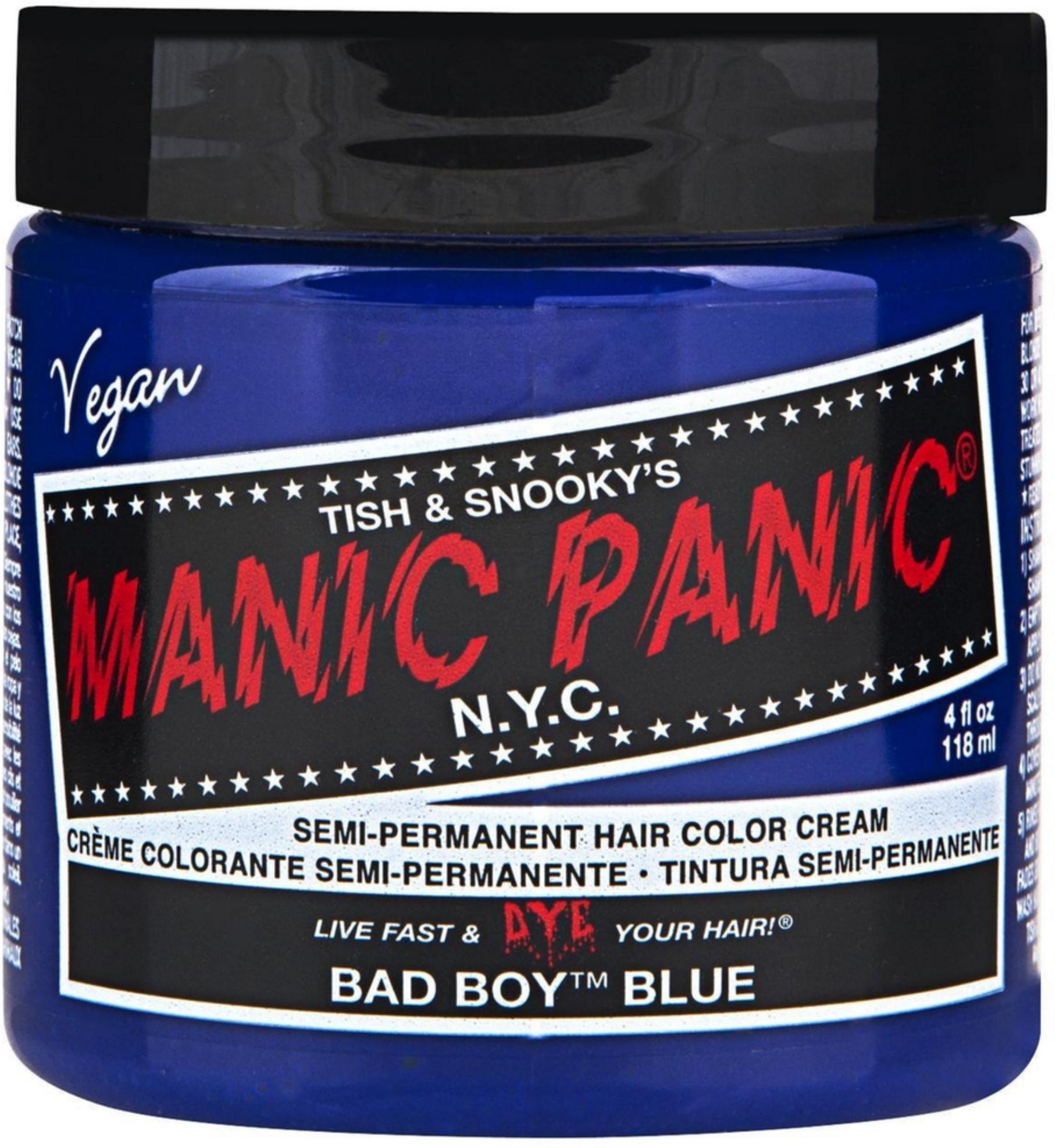 Manic Panic Semi-Permanent Hair Color Cream, Bad Boy Blue 4 oz