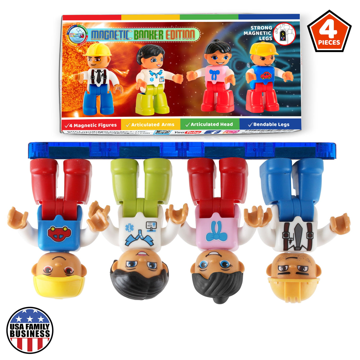 Magnetic Figures Set of 4 -Toddlers Action Toy People ...