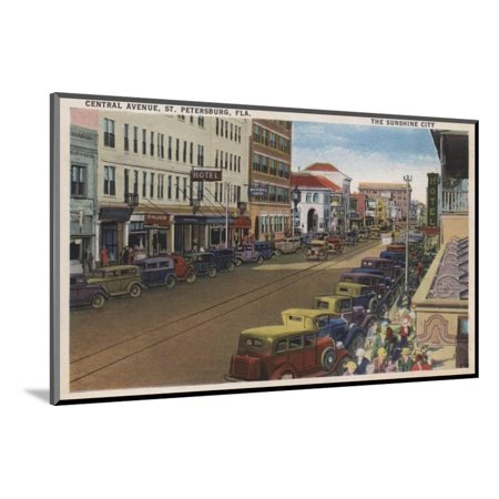 St. Petersburg, FL - View of Central Ave with Cars Wood Mounted Print Wall Art By Lantern Press](Party City Central Ave)