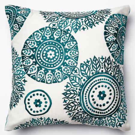 Alexander Home Neva Ivory/Teal Embroidered Down Feather or Polyester Filled 18-inch Throw Pillow ...