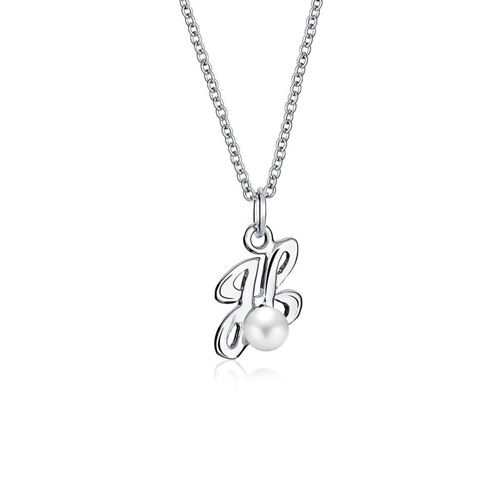 925 Sterling Silver Cursive Letter W Pendant Alphabet Initial Charm