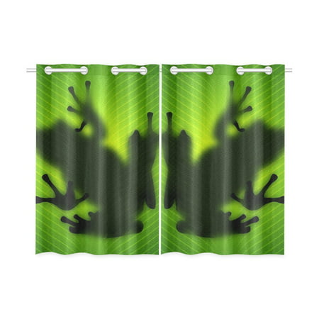 MYPOP Frog Window Curtain Kitchen Curtain 26x39 inches (Two Piece)