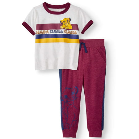 Short Suits For Boys (The Lion King Short Sleeve Graphic T-shirt & French Terry Taped Jogger Pants, 2pc Outfit Set (Toddler)