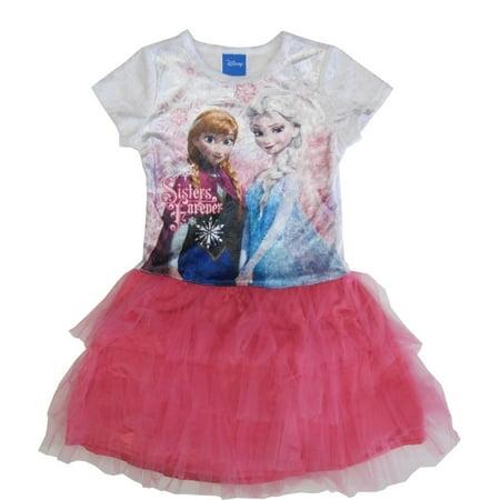 Disney Little Girls White Pink Anna Elsa Print Tutu Ruffle Dress 5-6X - Elsa Girl Dress