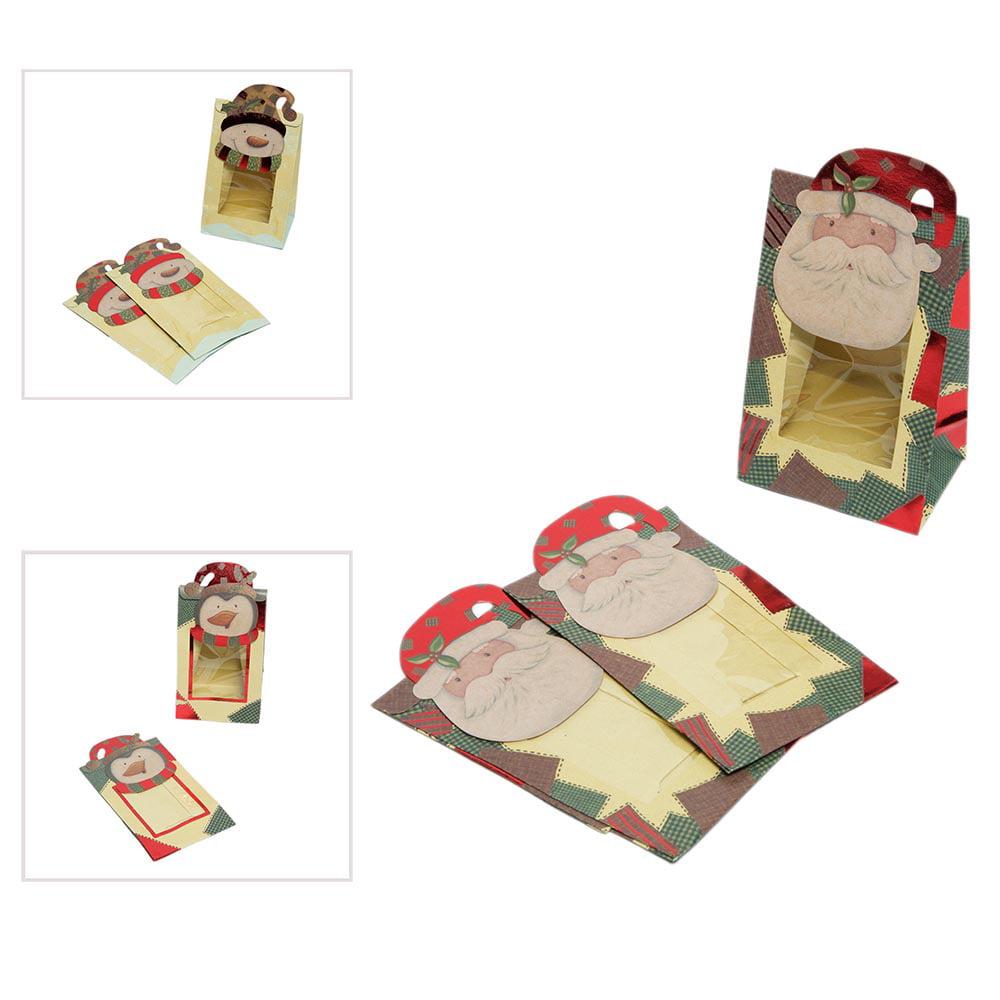 3 Pack   Mini Christmas Window Kraft Treat Bags