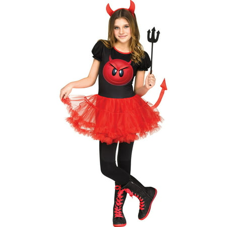Girls Devil Emoji Movie Halloween Costume](Devil Bride Halloween Costume)