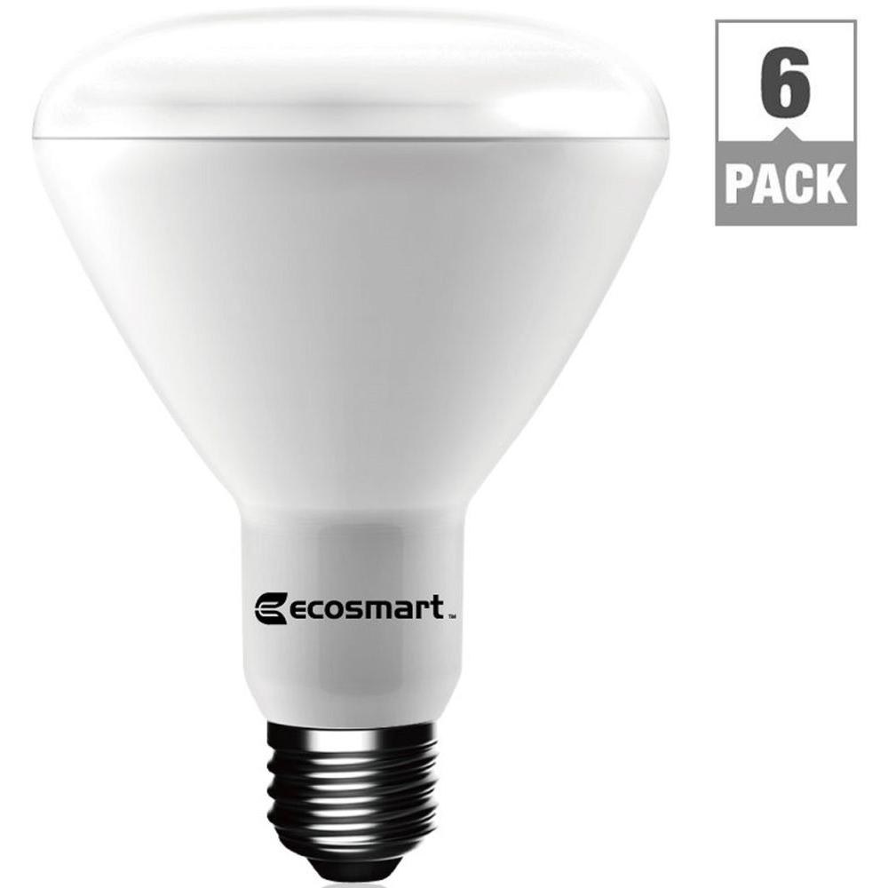 EcoSmart 65W Equivalent Bright White BR30 Dimmable LED Light Bulb (6 ...