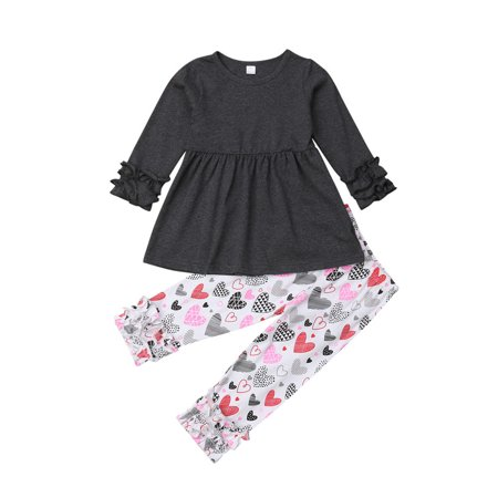 Kids Baby Girl Long Sleeve Ruffles Tops Dress Blouse Heart Print Long Pant Legging 2PCS Clothes Outfit Set