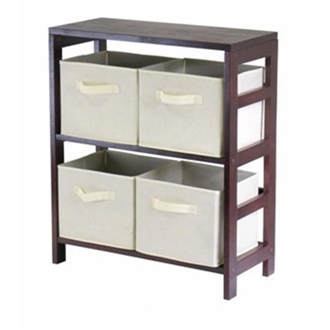 Capri 2 Section M Storage Shelf with 4 Foldable Fabric Baskets - Walnut and Beige - image 1 de 1
