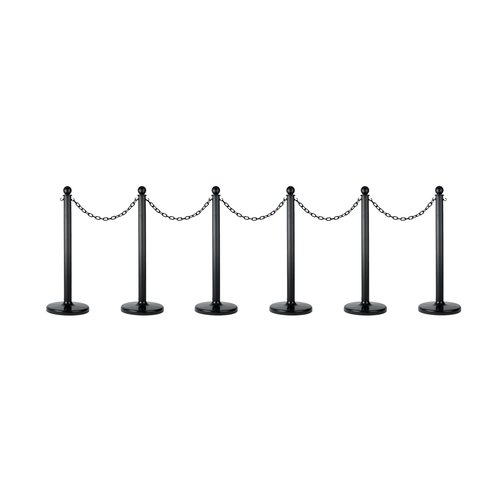 Mr Chain 71103-6 Medium Duty Stanchion and Safety Chain Kit Black