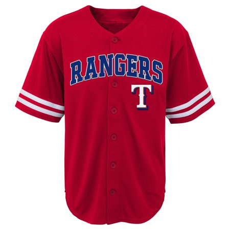 MLB Texas RANGERS TEE Short Sleeve Boys Fashion Jersey Tee 60% Cotton 40% Polyester BLACK Team Tee 4-18