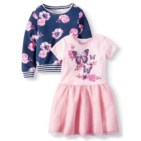 KidTopia Little Girls' Jersey Mesh Dress and Sweatshirt Mix and Match, 2-Piece Set for $<!---->