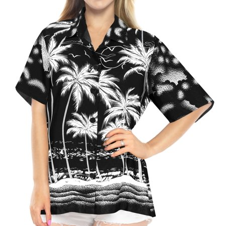 0aabf4650 HAPPY BAY - Hawaiian Shirt Blouses Button Up Beach wear Women Short Sleeves  Swimsuit Black - Walmart.com