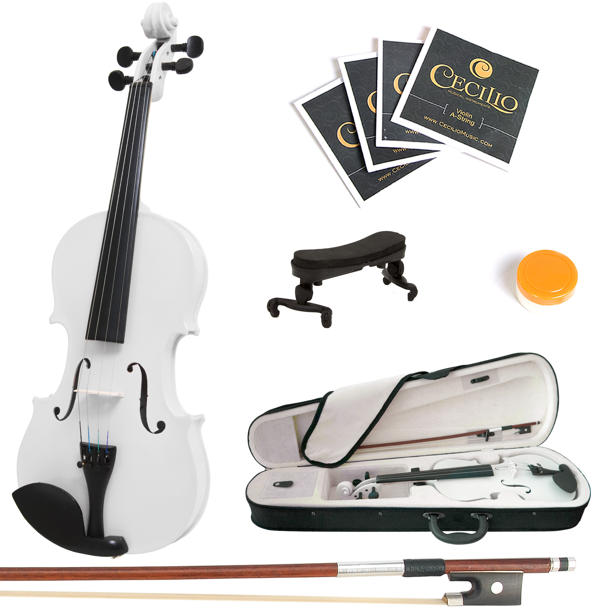 Mendini by Cecilio Size 3/4 MV-White Handcrafted Solid Wood Violin with 1 Year Warranty, Shoulder Rest, Bow, Rosin, Extra Set Strings, 2 Bridges & Case, White