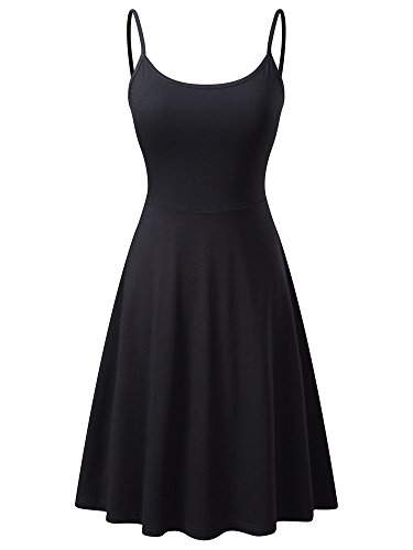 Dress for Women Womens Sleeveless Adjustable Strappy Flared Midi Skater Dress