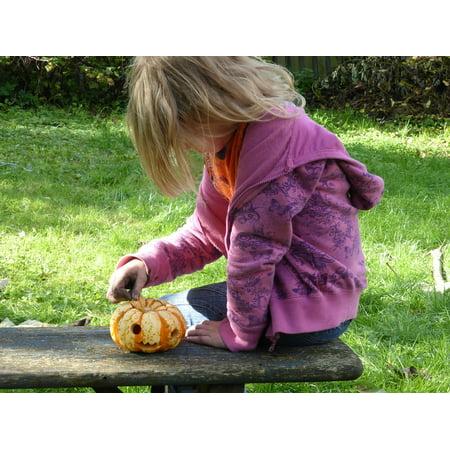 LAMINATED POSTER Girl Play Children Tinker Pumpkin Halloween Poster Print 24 x - Halloween Kids Posters