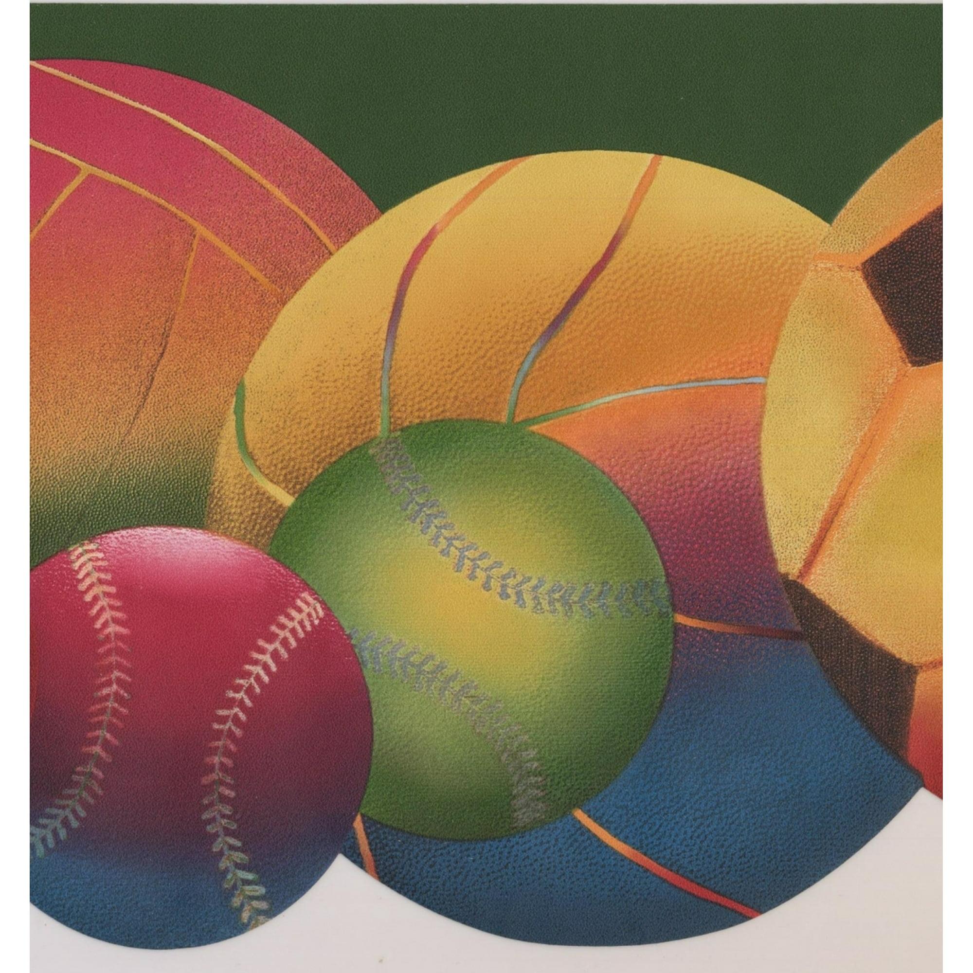 Colorful Football Baseball Soccer Ball Green Modern Wallpaper Border Sport Design Roll 15 X 8 5 Walmart Canada