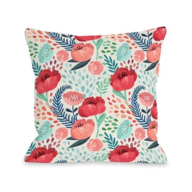 One Bella Casa 74495PL18 18 x 18 in. Central Park Florals Pillow, Multicolor - image 1 of 1