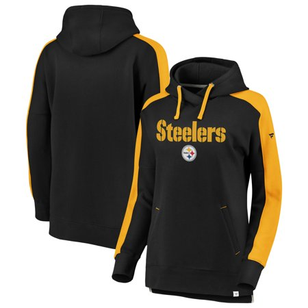 46c26c22f Pittsburgh Steelers NFL Pro Line by Fanatics Branded Women s Plus Size  Color Block Pullover Hoodie - Black Gold - Walmart.com