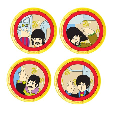 Beatles Yellow Submarine 4 pc. 8 in. Ceramic Salad Plate Set ()
