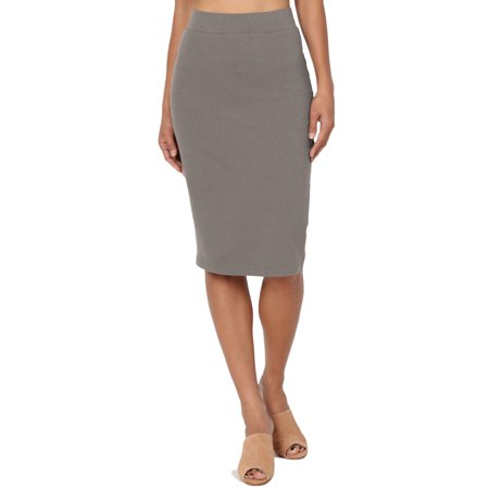 TheMogan Women's S~3X Elastic High Waist Stretch Cotton Knee Pencil Midi (Shirred Waist Pencil Skirt)