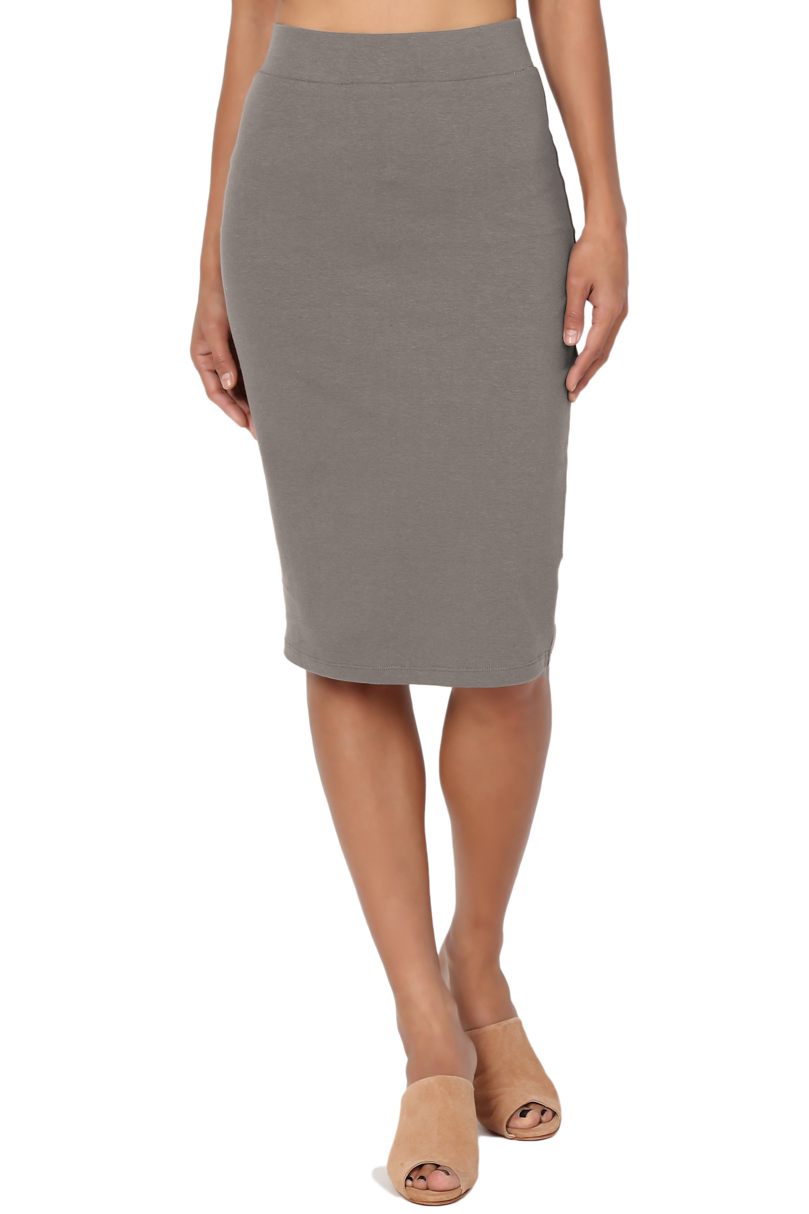 TheMogan Women's S~3X Elastic High Waist Stretch Cotton Knee Pencil Midi Skirt