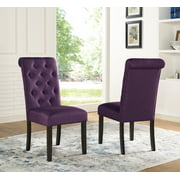 Roundhill Furniture Leviton Solid Wood Tufted Asons Dining Chair (Set of 2), Purple